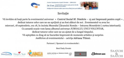Invitatie Sf Dimitrie