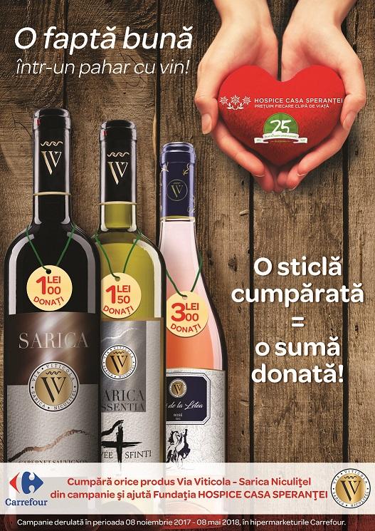 Campanie caritabila Carrefour si Via Viticola - Sarica Niculitel pentru- Fundatia Hospice
