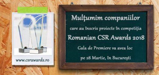 Romanian CSR Awards 2018 - Inscrieri dupa