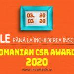 3 MARTIE: Data limita pentru inscrierea proiectelor in competitia ROMANIAN CSR AWARDS 2020