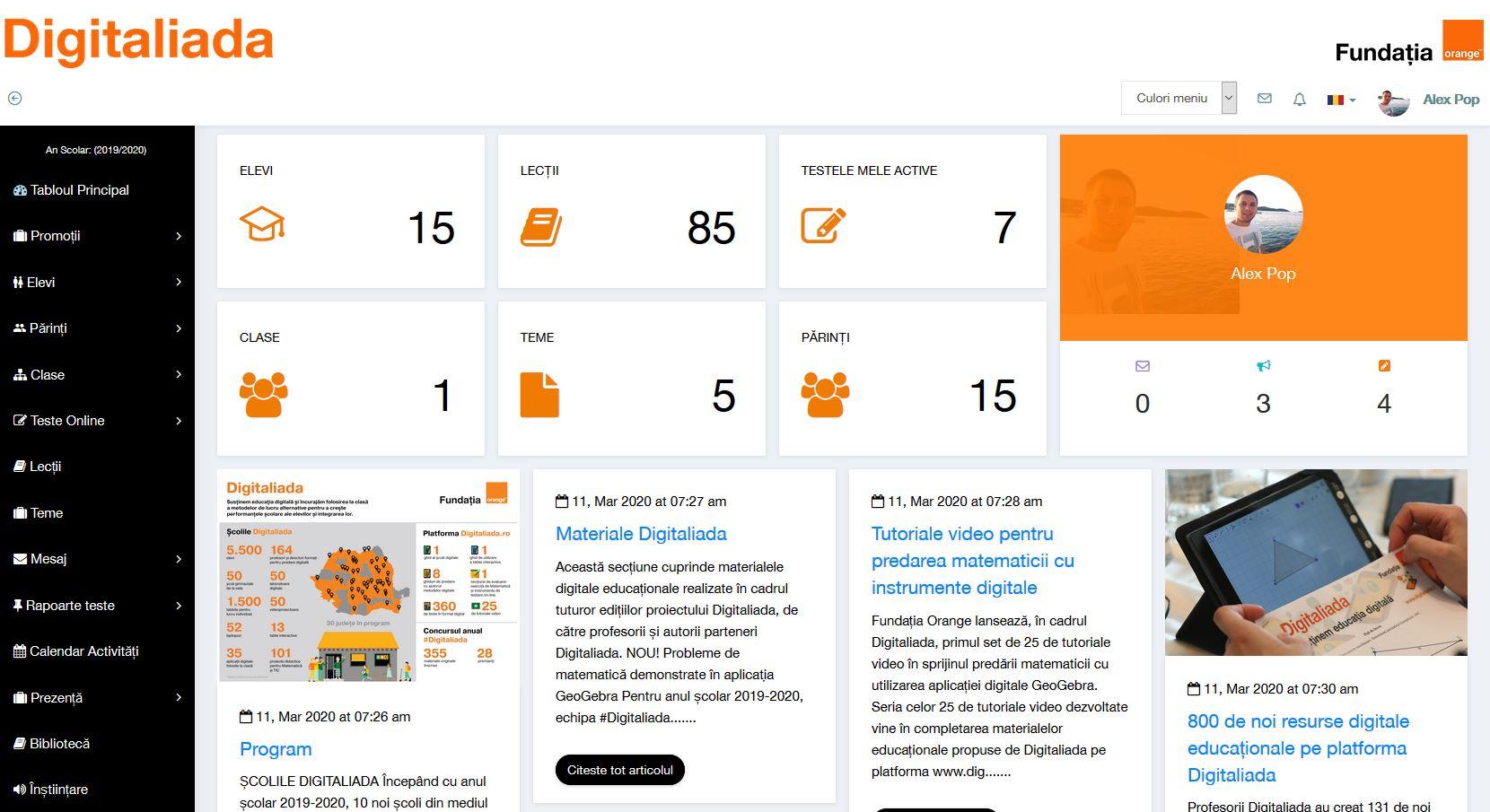 Digitaliada_cont Profesor in Sectiunea de Invatare si testare online