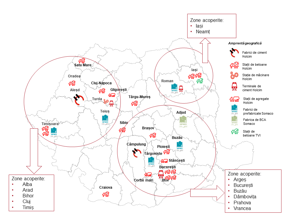 Harta spitalelor sustinute financiar de Holcim Romania si Somaco